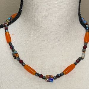 Handcrafted Glass bead and Hematite Necklace